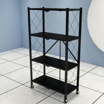 4 Tier Green Epoxy Metal Commercial Mobile Wire Shelving in Plant Growing Environment